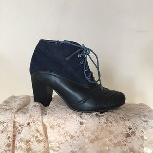 MBLM Blue Suede Ankle Boots